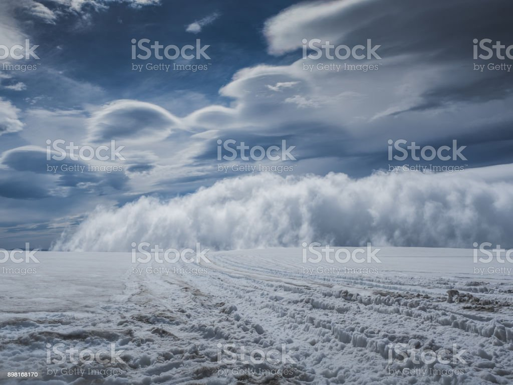 majestic Langjokull glacier with blue sky and clouds in Iceland stock photo