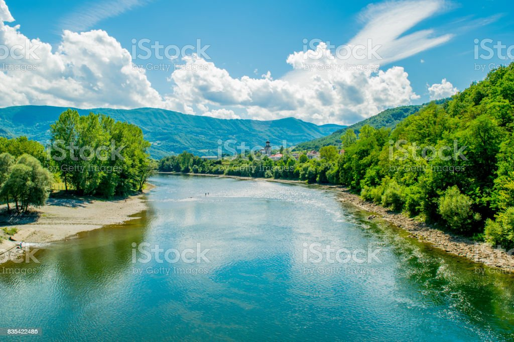 Majestic look to the Drina River in Serbia. stock photo