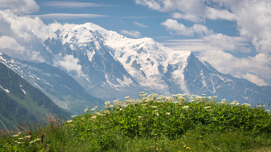 istock Majestic massif of Mont Blanc, seen from Col de Balme at the Franco-Swiss border. 1192987085