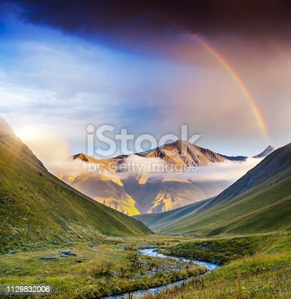 Majestic mist landscapes with high mountains of Georgia, Europe. Dramatic sky. Caucasus mountains. Beauty world.