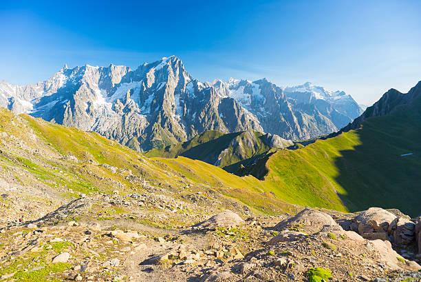 웅장한 몽블랑, 울창한 녹색 고산대 밸리 - 몽블랑 뉴스 사진 이미지