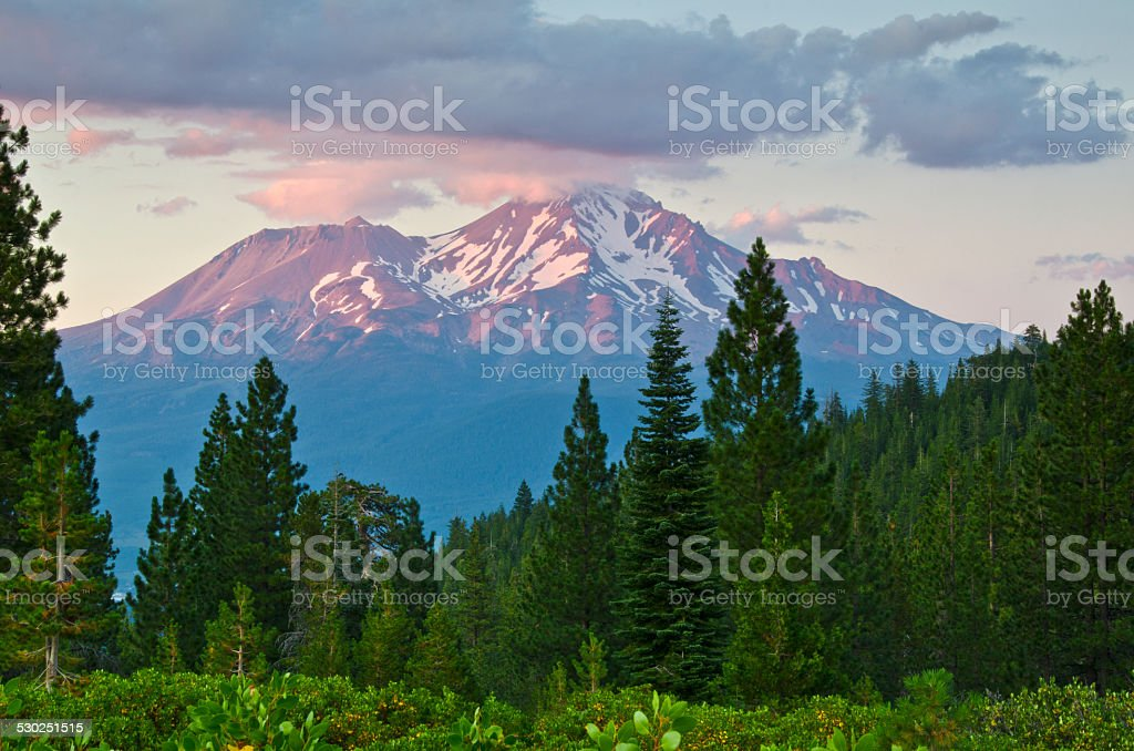 Majestic Mount Shasta stock photo