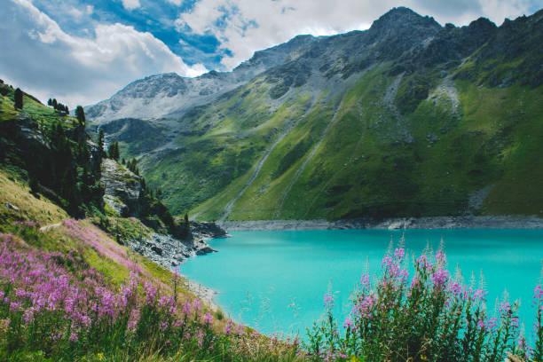 스위스에서 장엄한 산 호수입니다. - 알프마리팀 뉴스 사진 이미지