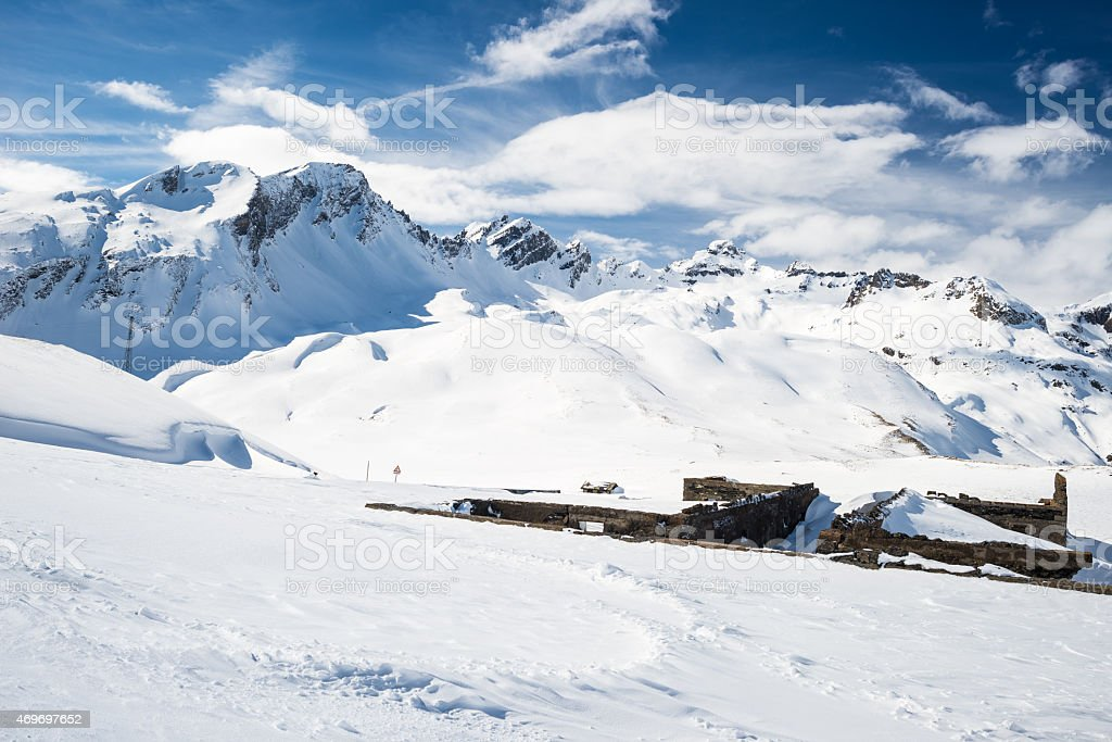Majestic mountain peaks in the Alps stock photo