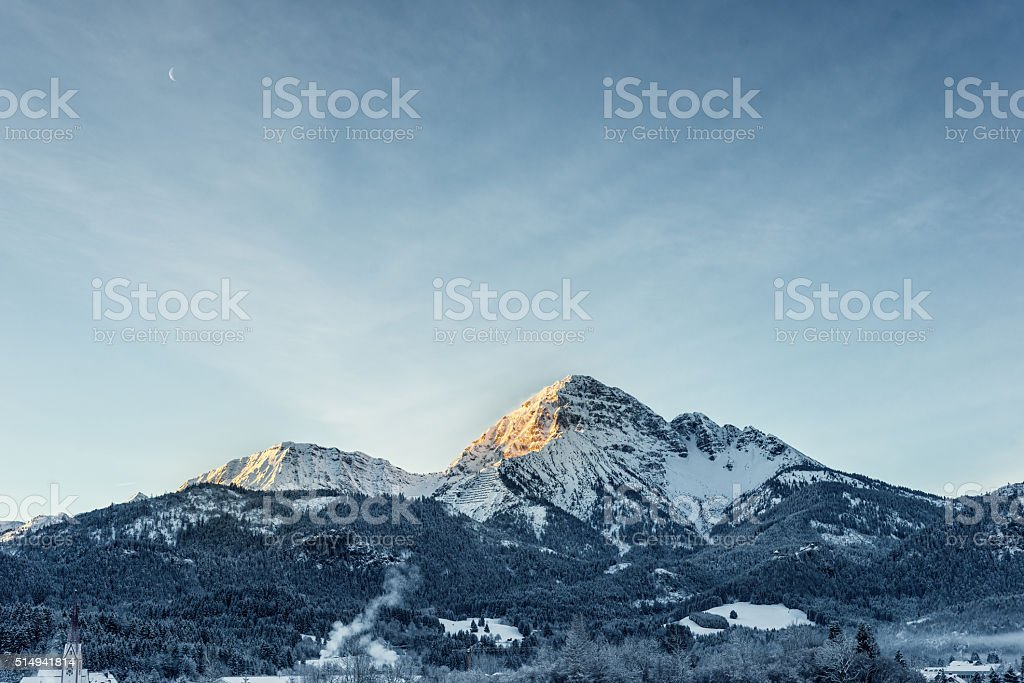 majestic mountain thaneller at winter while sunrise stock photo