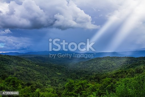 istock Majestic mountains landscape under morning sky with clouds. Over 473309440