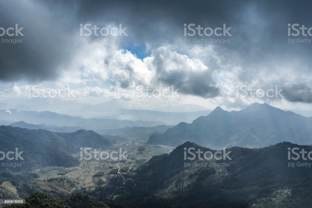 Majestic mountains landscape under morning sky with clouds. Overcast...