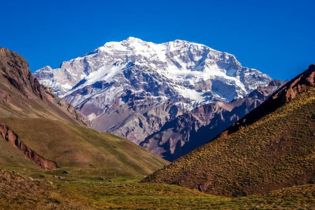 Majestic peak of Aconcagua stock photo