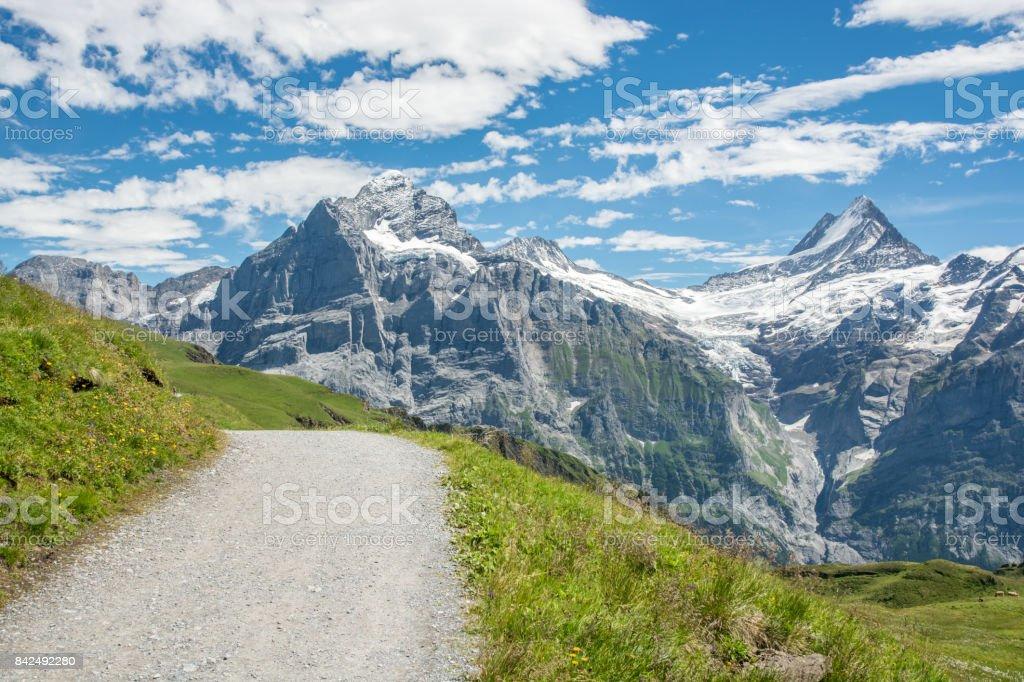 Majestic peaks in Swiss Alps stock photo