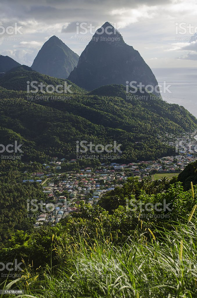 majestic pitons of Soufriere St Lucia stock photo