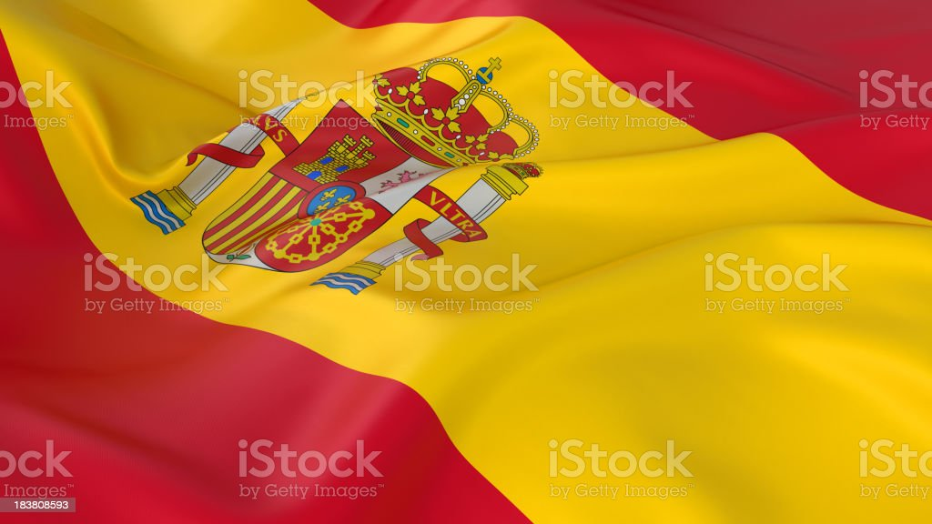 A majestic red and yellow Spanish flag royalty-free stock photo