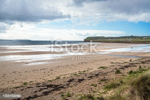 istock Majestic sandy beach on a partly clody spring day 1205733260