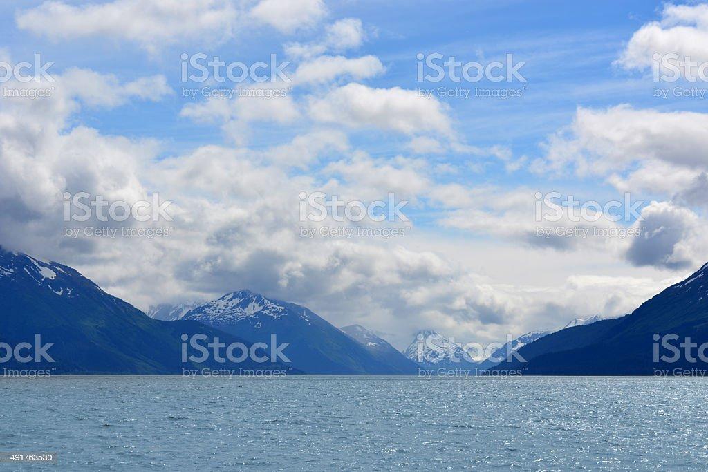 Majestic Snowy Alaskan Mountains near Anchorage stock photo