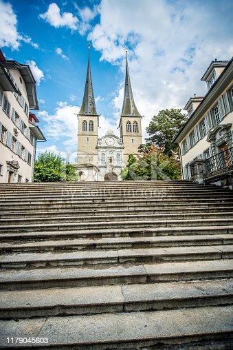 Majestic St. Leodegar Church in Lucerne, Switzerland
