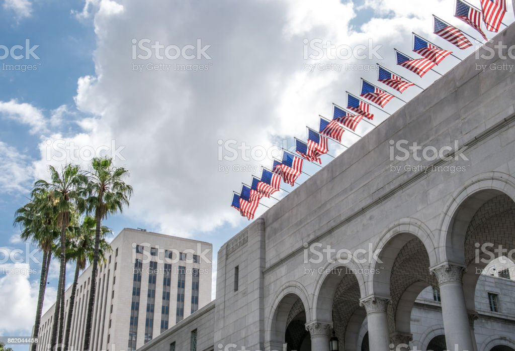 Majestic state building. City Hall Los Angeles stock photo