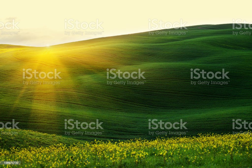 Majestic sunrise over the hills Spring stock photo