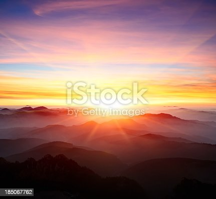 istock majestic sunrise over the mountains 185067762