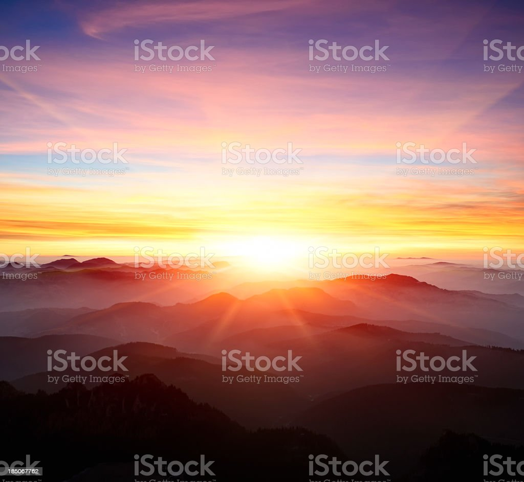 majestic sunrise over the mountains stock photo