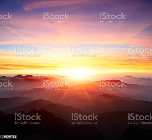 majestic sunrise over the mountains