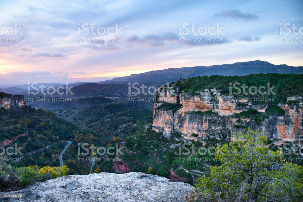 Majestic sunset in the mountains stock photo
