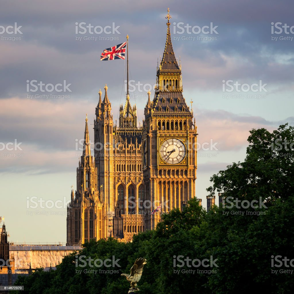 Majestic sunset over Big Ben and Victoria Tower stock photo