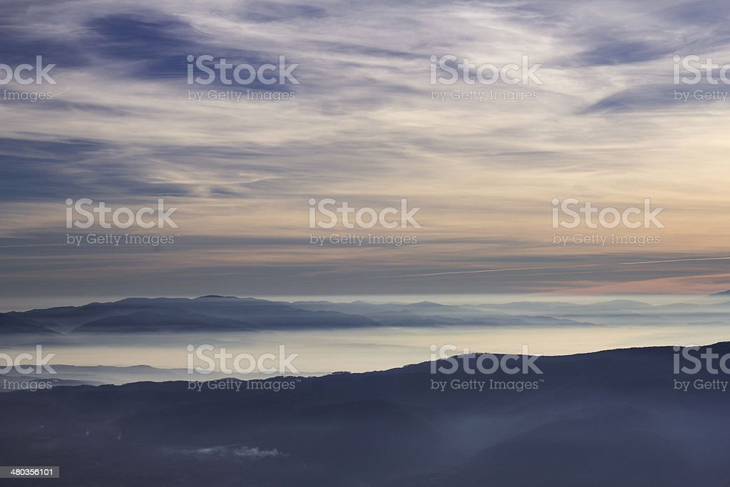 majestic sunset over hills stock photo