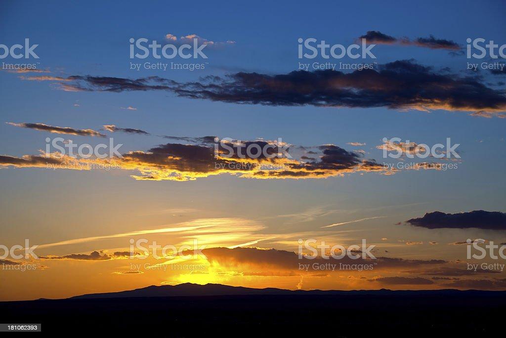 Majestic Sunset over Mountain stock photo