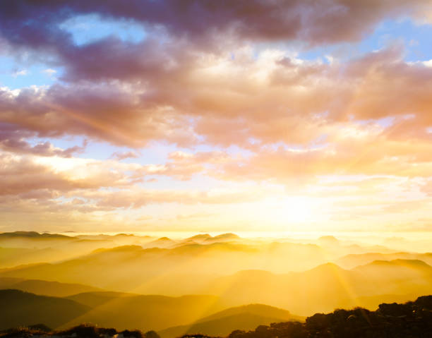 majestic sunset - heaven stock photos and pictures