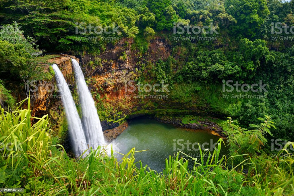 Majestic twin Wailua waterfalls on Kauai stock photo