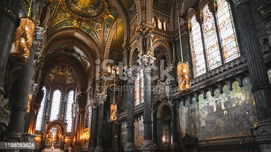 istock Majestic very decorated and golden interior of the Basilica Notre Dame de Fourviere in Lyon French city 1198093624