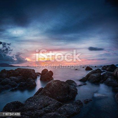Majestic View of Glowing Sunset at sea. Ko Samui. Thailand. Long Exposure shot