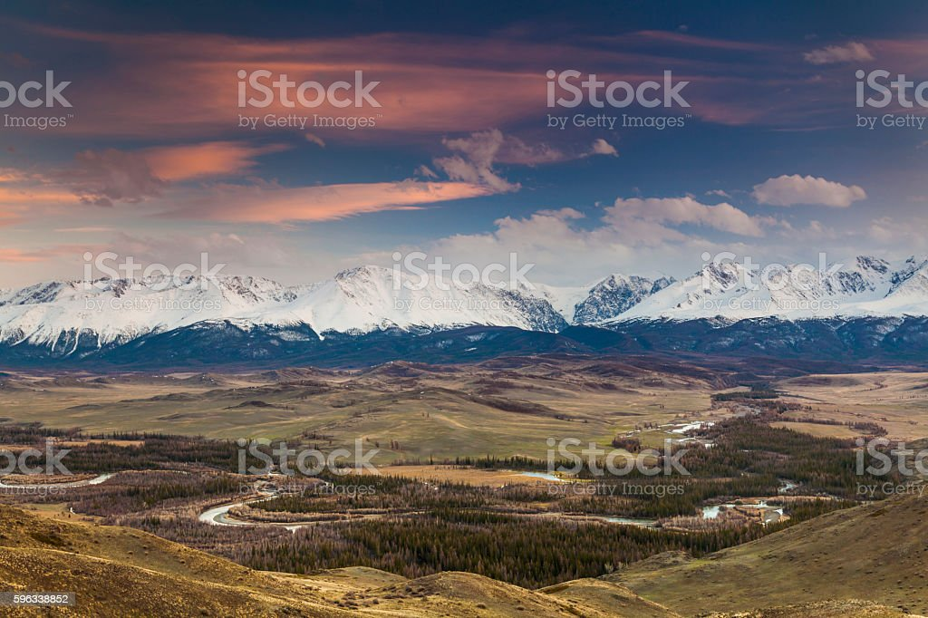 Majestic views of the beautiful mountains of Altai. Lizenzfreies stock-foto