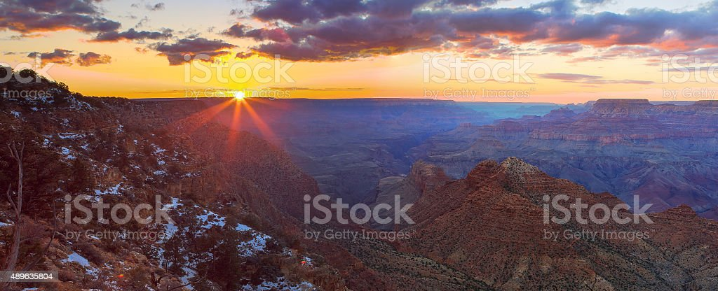 Majestic Vista of the Grand Canyon at Dusk stock photo