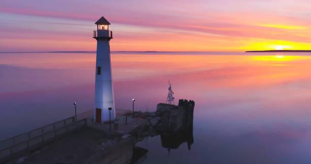 Majestic Wawatam Lighthouse in stunning predawn light stock photo