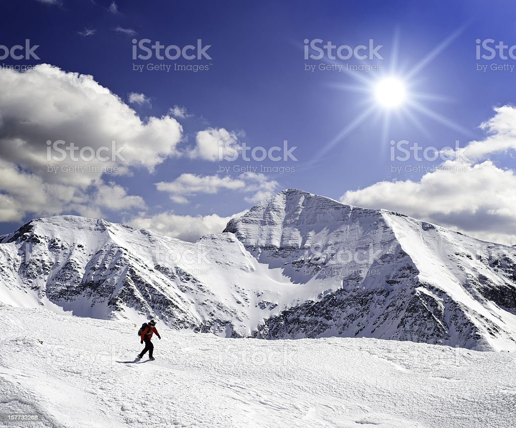 majestic winter landscape  in mountains stock photo