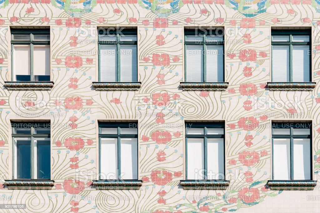 Majolica House apartment house in historical city centre of Vien stock photo