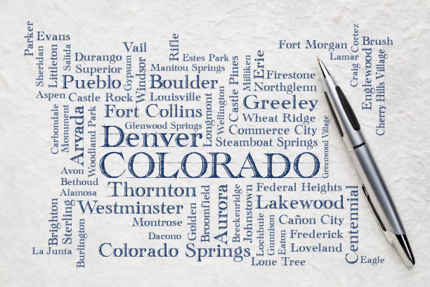 major cities of Colorado word cloud on a lokta paper stock photo