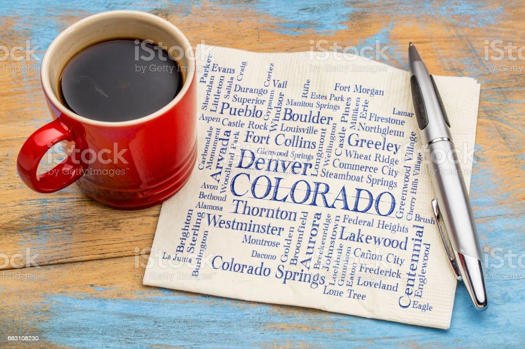 major cities of Colorado word cloud on napkin stock photo