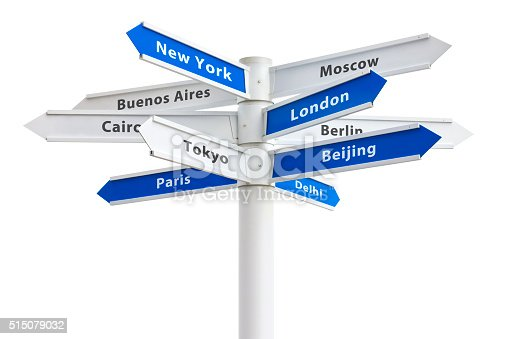 istock Major Cities of the World Crossroad Sign 515079032