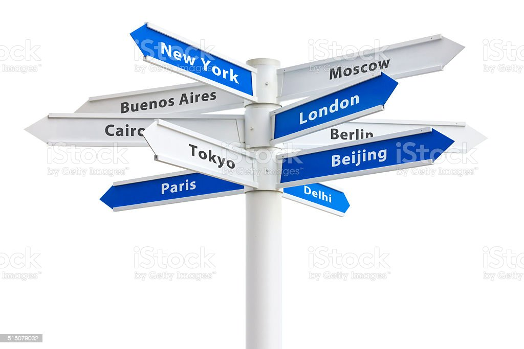 Major Cities of the World Crossroad Sign stock photo