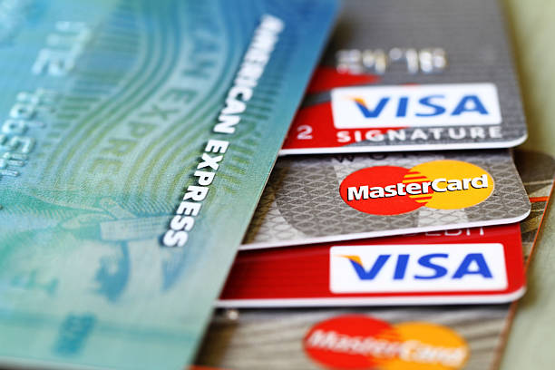 Major credit cards: Visa, Master Card and American Express stock photo