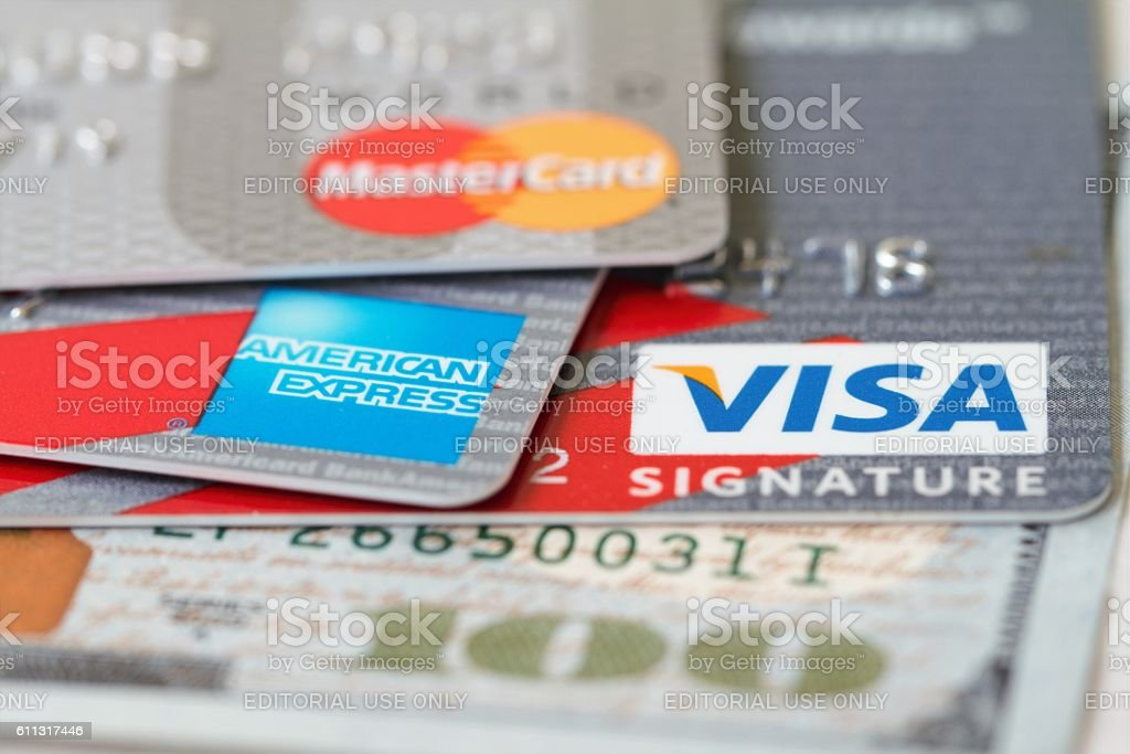 Major credit cards: Visa, Master Card and American Express stock photo