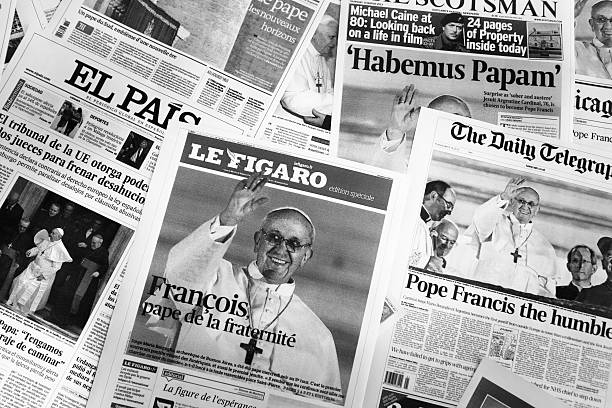 major european cover newspapers after pope election - pope francis stok fotoğraflar ve resimler