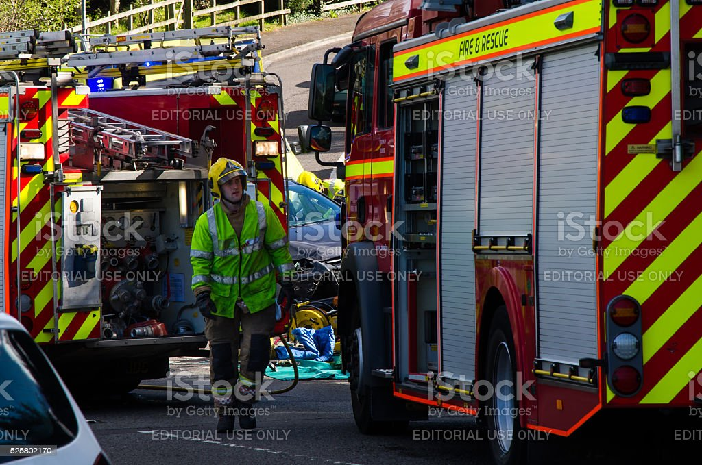 Major road accident on A37 in Pensford, Somerset, UK stock photo