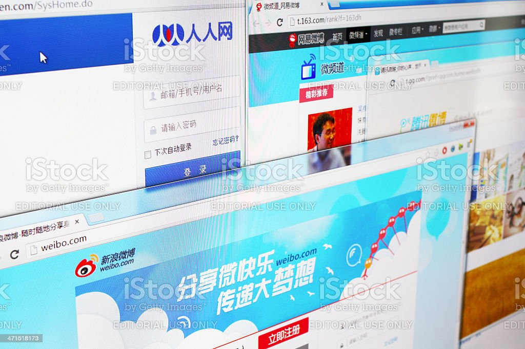Major Social Networking Websites in China royalty-free stock photo