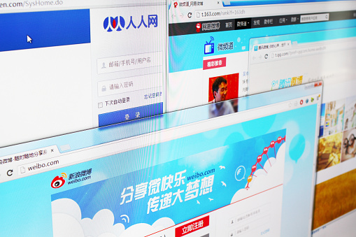 Shanghai, China - May 11, 2013: Close-up view of social networking websites in China on computer screen including Renren, Tencent, Sina Microblog and Netease. These social networking sites are the most visited websites in China.