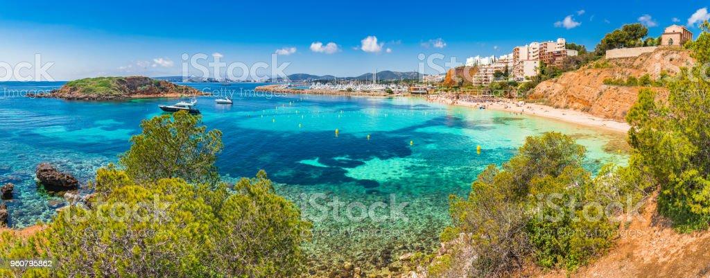Majorca beach panorama of Puerto Portals Nous, Spain Mediterranean Sea - foto stock