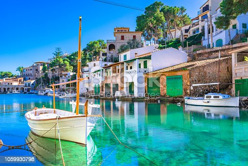 istock Majorca island, idyllic bay of Cala Figuera, beautiful old fishing harbor, Mediterranean Sea Spain 1059930798