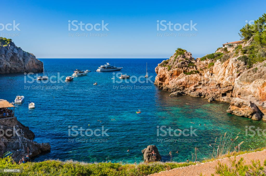 Majorca Spain, beautiful view of the bay Cala Deia beach, Balearic Islands stock photo