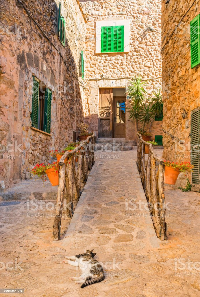 Majorca Spain, idyllic streets in the old village Valldemossa stock photo